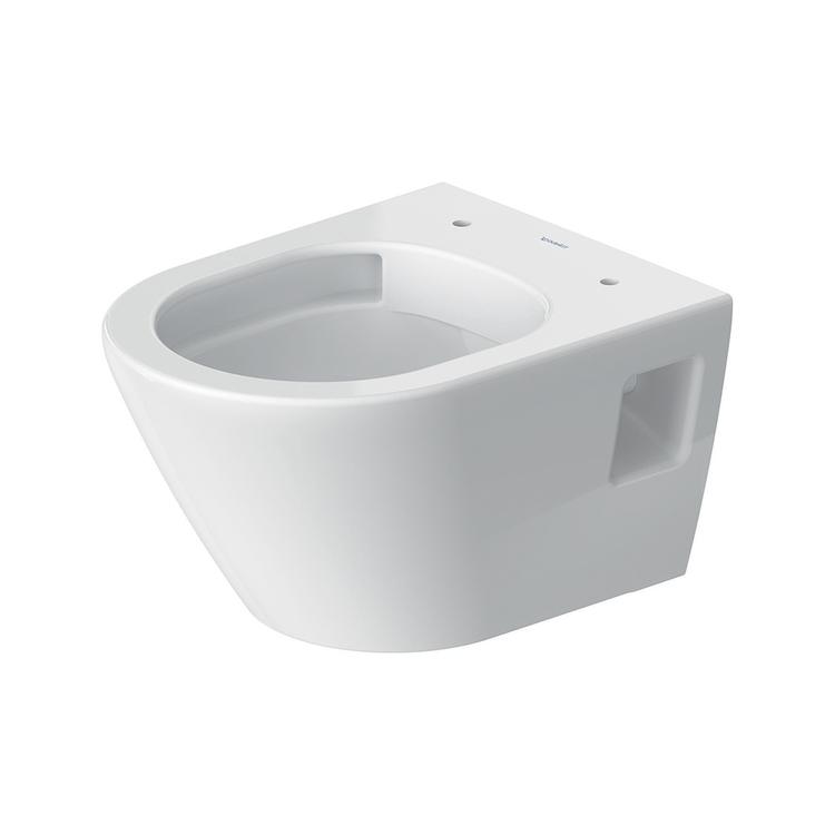 Duravit D-NEO vaso sospeso Compact Rimless® senza brida, senza sedile, a cacciata, UWL classe 1, 4,5 l, Hygieneglaze, colore bianco 2587092000