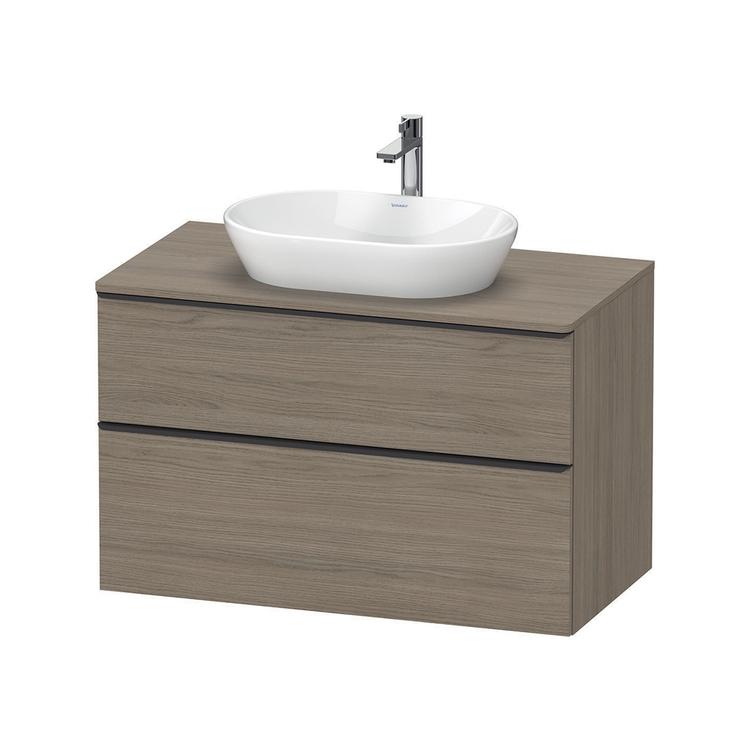 Duravit D-NEO base sottolavabo sospesa L.100 cm, con 1 cassetto e 1 elemento estraibile, cassetto superiore con scasso per il sifone e coprisifone, 1 consolle con un taglio per lavabo, finitura rovere terra DE496803535