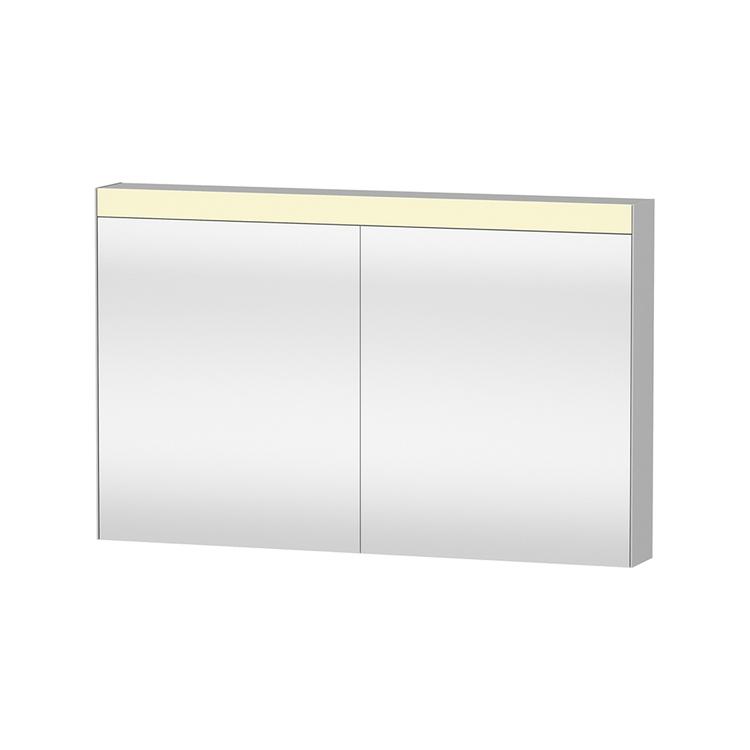 """Duravit D-NEO armadietto a specchio L.121 cm, versione """"Good"""", 2 ante a specchio, 4 ripiani in vetro, per interruttore a parete LM782300000"""
