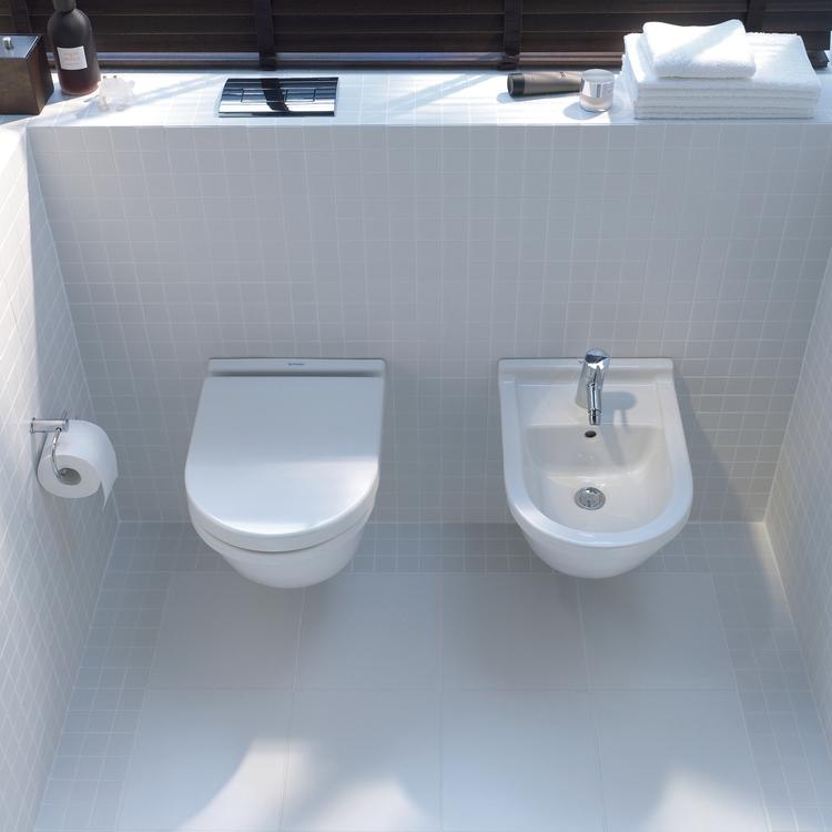 Duravit STARCK 3 set sanitari sospesi, vaso Compact a cacciata, sedile con coperchio, senza chiusura rallentata, bidet monoforo con troppopieno, colore bianco 2227090000+2280150000+0063810000