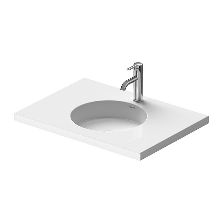 Duravit CAPE COD lavabo consolle 70 cm, senza troppopieno, con bordo per rubinetteria, per base sottolavabo, Wondergliss, colore bianco 23397000001