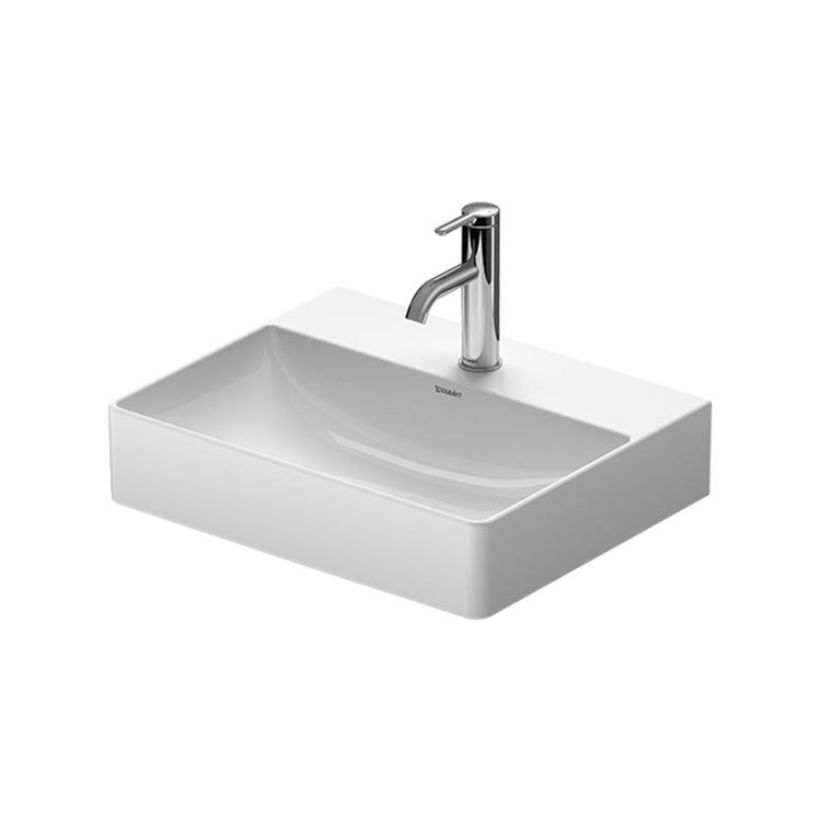 Duravit DURASQUARE lavabo consolle Compact 50 cm monoforo, senza troppopieno, con bordo per rubinetteria, Wondergliss, colore bianco 23565000711
