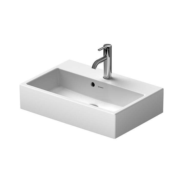 Duravit VERO AIR lavabo consolle Compact 60 cm monoforo, con troppopieno e bordo per rubinetteria, lato inferiore smaltato, Wondergliss, colore bianco 23686000271