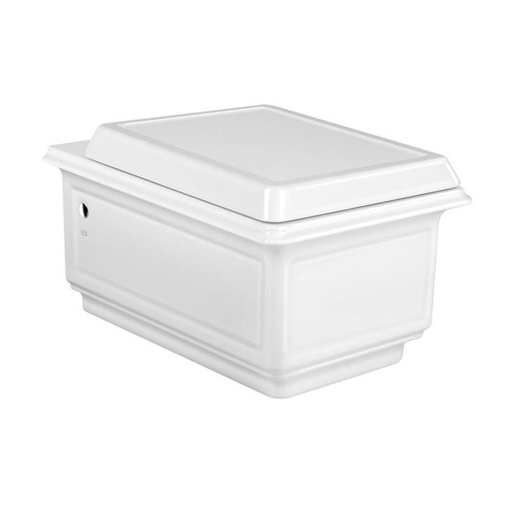 Gessi ELEGANZA vaso in ceramica Rimless sospeso, sedile con chiusura rallentata e coprifori laterali cromo, colore bianco finitura lucido 46753#518