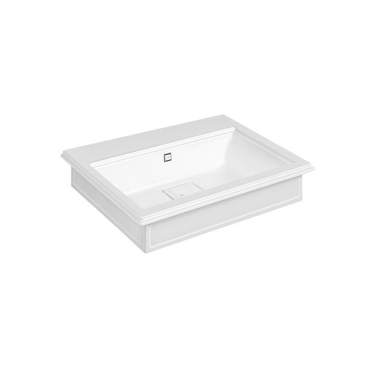 Gessi ELEGANZA lavabo in cristalplant a parete o da appoggio, con troppopieno e 3 fori diaframmati, colore bianco finitura lucido 46811#521