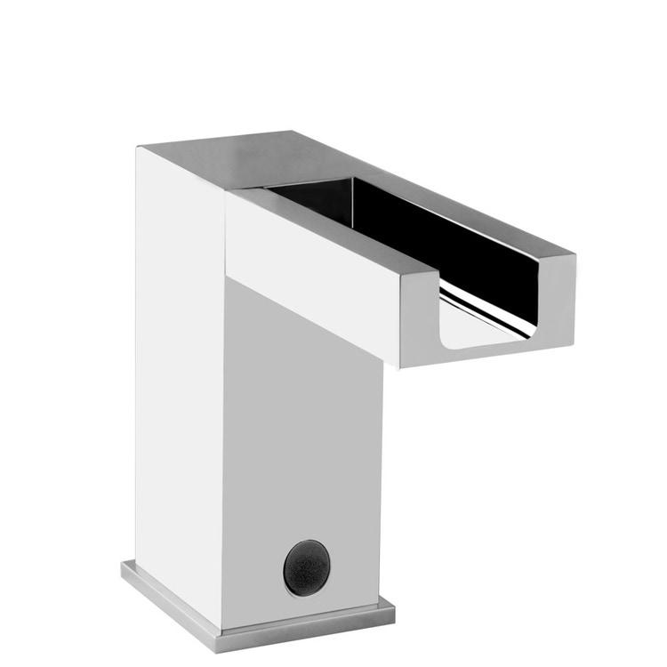 Gessi RETTANGOLO CASCATA rubinetto elettronico per lavabo, con regolazione di temperatura e portata tramite rubinetto sottolavabo, finitura cromo 30541#031