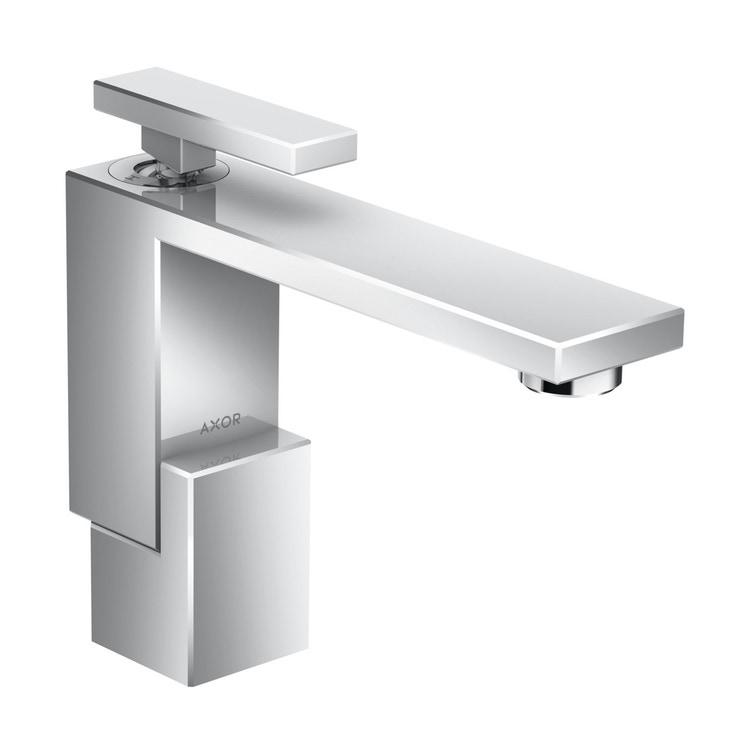 Axor EDGE miscelatore monocomando lavabo 130, con set di scarico push-open, finitura cromo 46010000