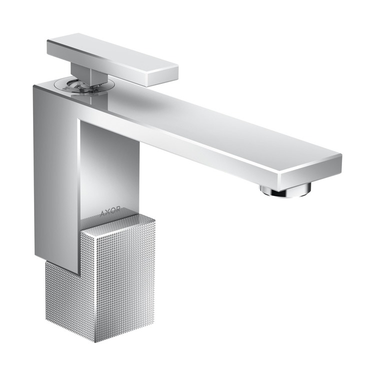 Axor EDGE miscelatore monocomando lavabo 130, con set di scarico push-open, e taglio a diamante, finitura cromo 46011000