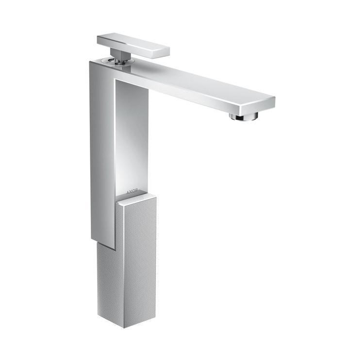 Axor EDGE miscelatore monocomando lavabo 280, con set di scarico push-open, e taglio a diamante, finitura cromo 46031000