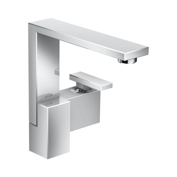 Axor EDGE miscelatore monocomando lavabo 190, con set di scarico push-open e taglio a diamante, finitura cromo 46021000