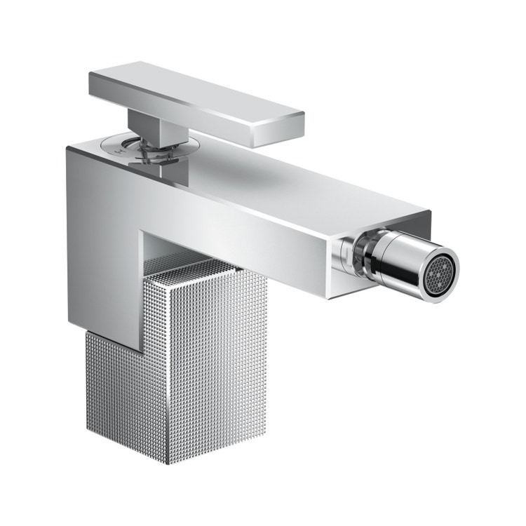 Axor EDGE miscelatore monocomando bidet, con set di scarico push-open, con taglio a diamante, finitura cromo 46211000