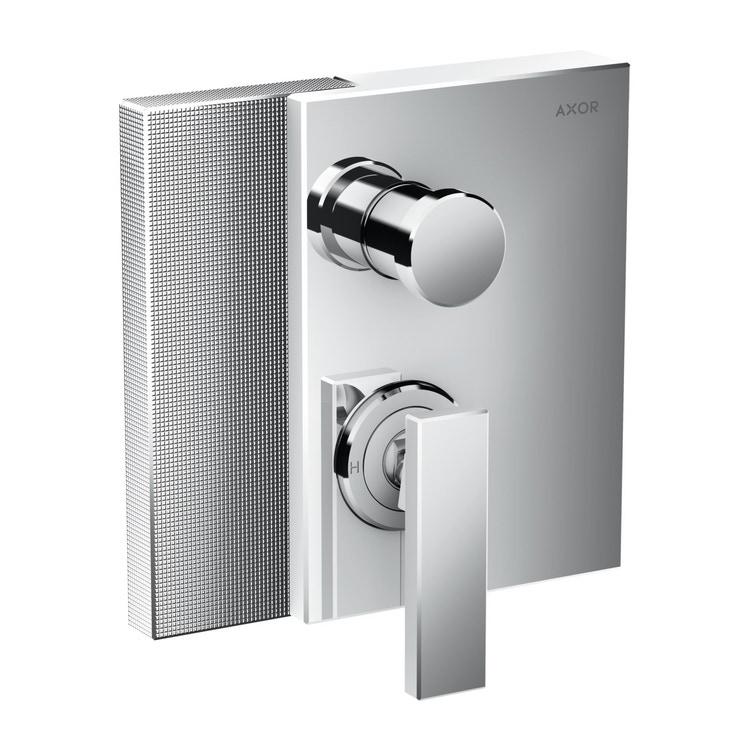 Axor EDGE miscelatore monocomando vasca, per installazione ad incasso, con combinazione di sicurezza integrata secondo la norma EN1717, con taglio a diamante, finitura cromo 46421000