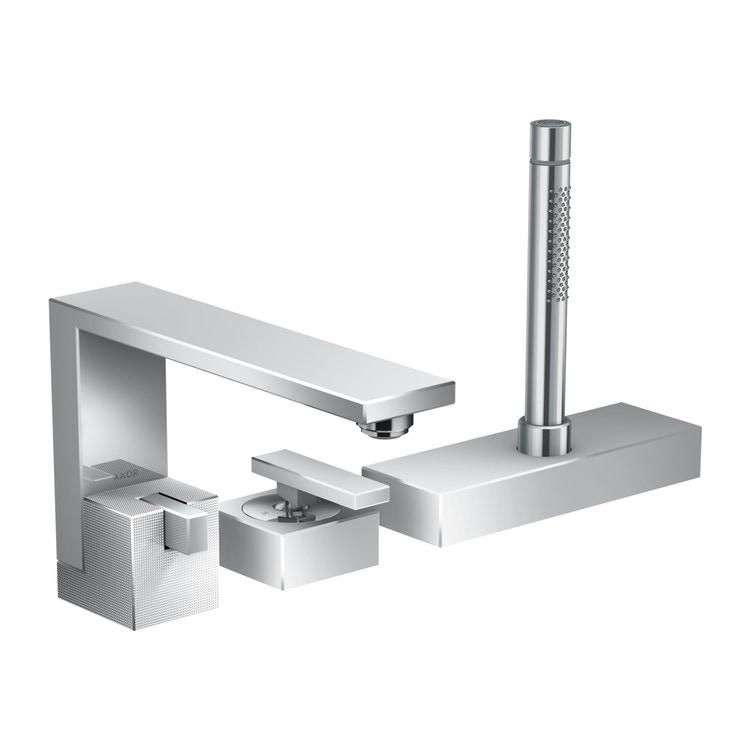 Axor EDGE rubinetteria 3 fori, bordo vasca, con taglio a diamante, finitura cromo 46431000