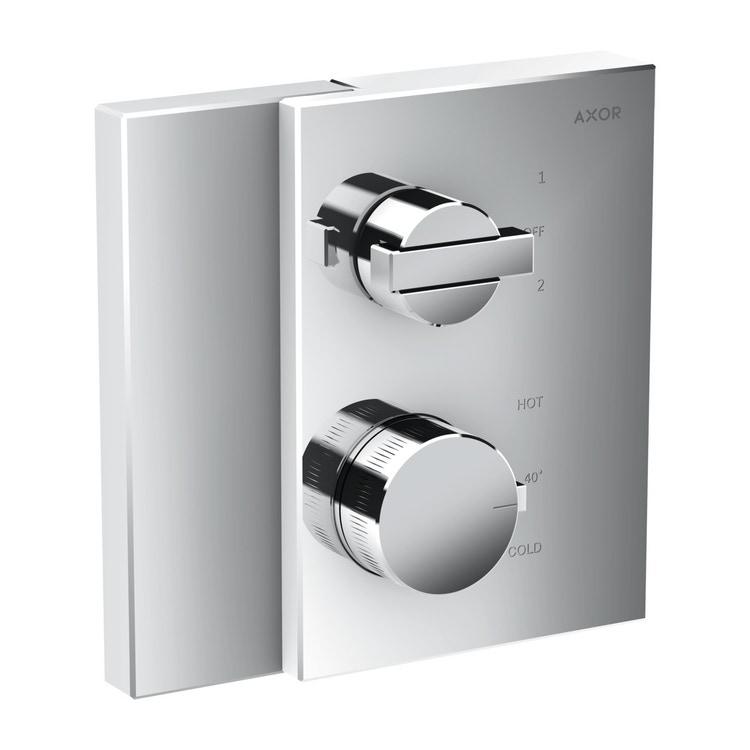 Axor EDGE termostatico ad incasso, con valvola d'arresto e deviatore, finitura cromo 46760000