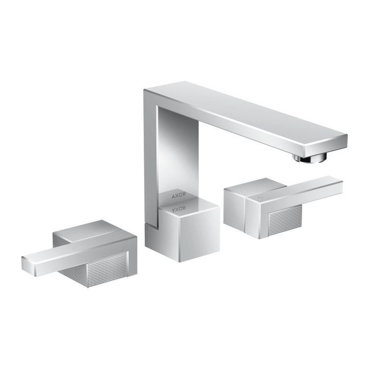 Axor EDGE rubinetteria 3 fori lavabo 130, con set di scarico push-open e taglio a diamante, finitura cromo 46051000