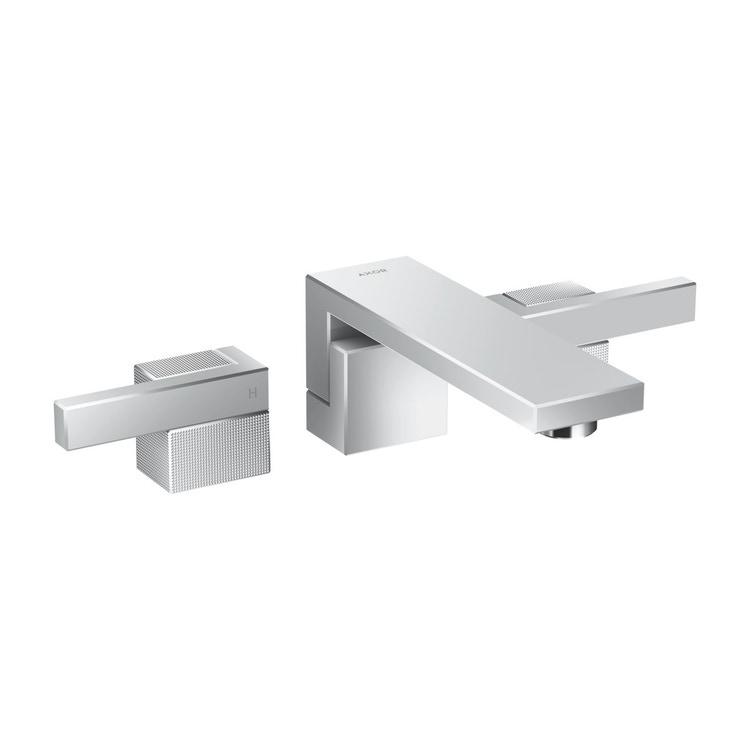 Axor EDGE rubinetteria 3 fori lavabo, ad incasso a parete, con bocca d'erogazione P.19 cm, con taglio a diamante, finitura cromo 46061000