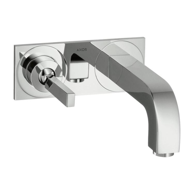 Immagine di Axor CITTERIO miscelatore monocomando lavabo, ad incasso a parete, con bocca d'erogazione 22,5 cm e piastrina, finitura cromo 39115000