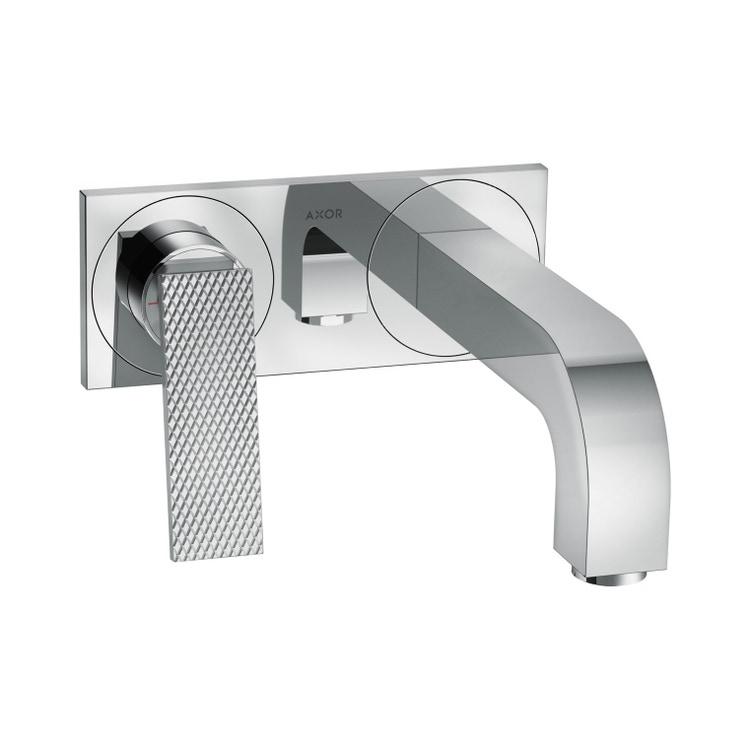 Axor CITTERIO miscelatore monocomando lavabo, ad incasso a parete, con maniglia a leva, bocca 22 cm, piastrina e taglio romboidale, finitura cromo 39171000