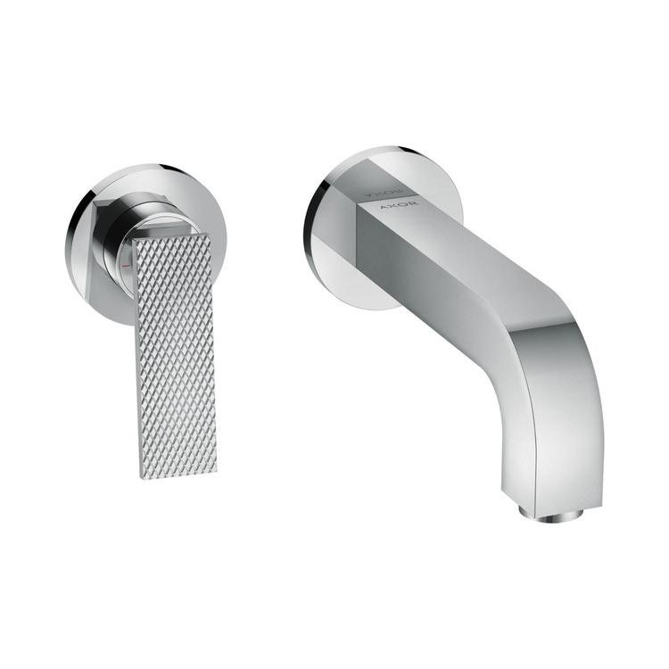 Axor CITTERIO miscelatore monocomando lavabo, ad incasso a parete, con maniglia a leva, bocca 22 cm, piastrine e taglio romboidale, finitura cromo 39181000