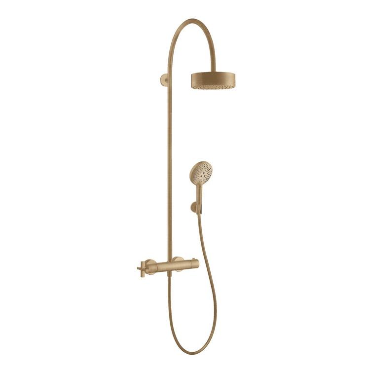 Axor CITTERIO showerpipe con miscelatore termostatico e soffione doccia 180, 1 jet, finitura bronzo satinato 39670140