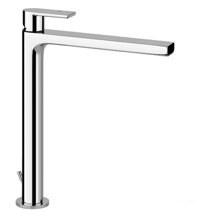 Gessi VIA MANZONI miscelatore lavabo H.30 cm, con scarico e flessibili di collegamento, finitura finox brushed nickel 38603#149
