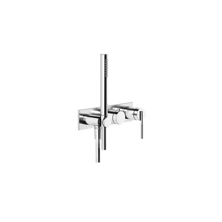 Gessi INGRANAGGIO miscelatore doccia, a parete, 2 vie, con deviatore, presa acqua e supporto doccetta, finitura cromo 63543#031