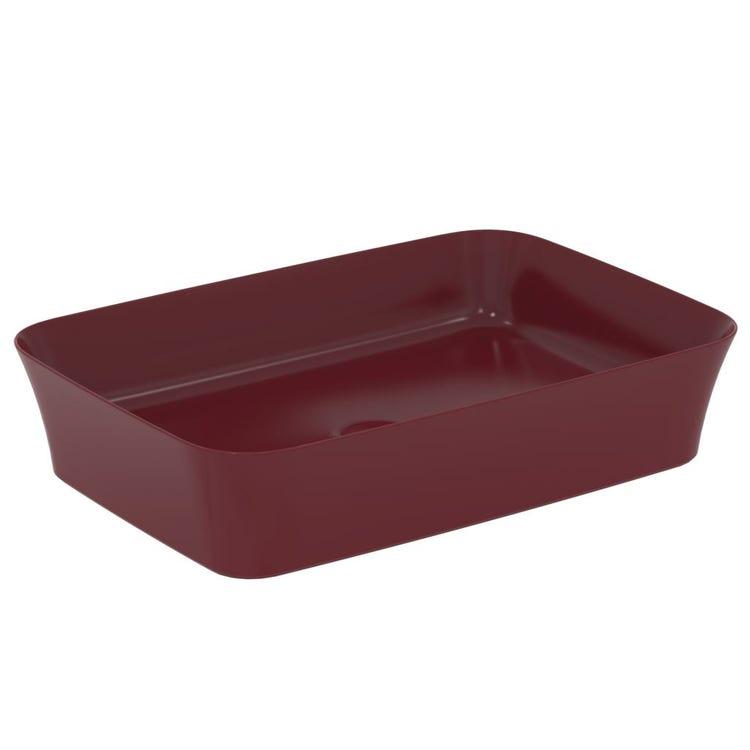 Ideal Standard IPALYSS lavabo da appoggio 55 cm, senza troppopieno, colore melograno finitura opaco E2076V6