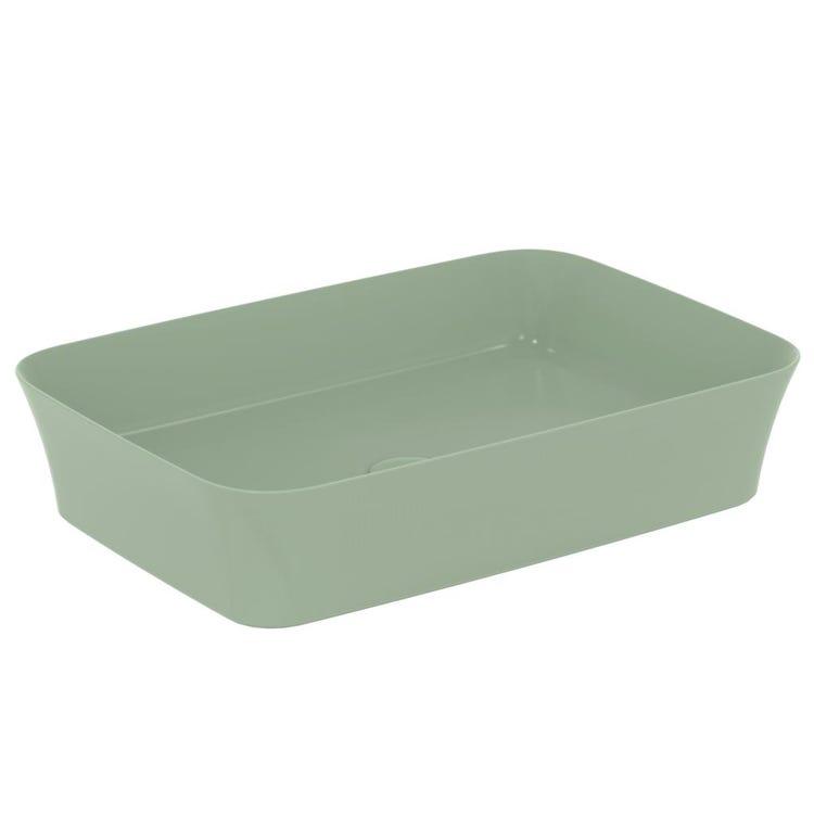 Immagine di Ideal Standard IPALYSS lavabo da appoggio 55 cm, senza troppopieno, colore salvia finitura opaco E2076X9