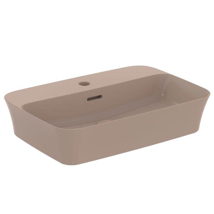 Immagine di Ideal Standard IPALYSS lavabo da appoggio 55 cm monoforo, con troppopieno, colore kashmir finitura opaco E2077V4