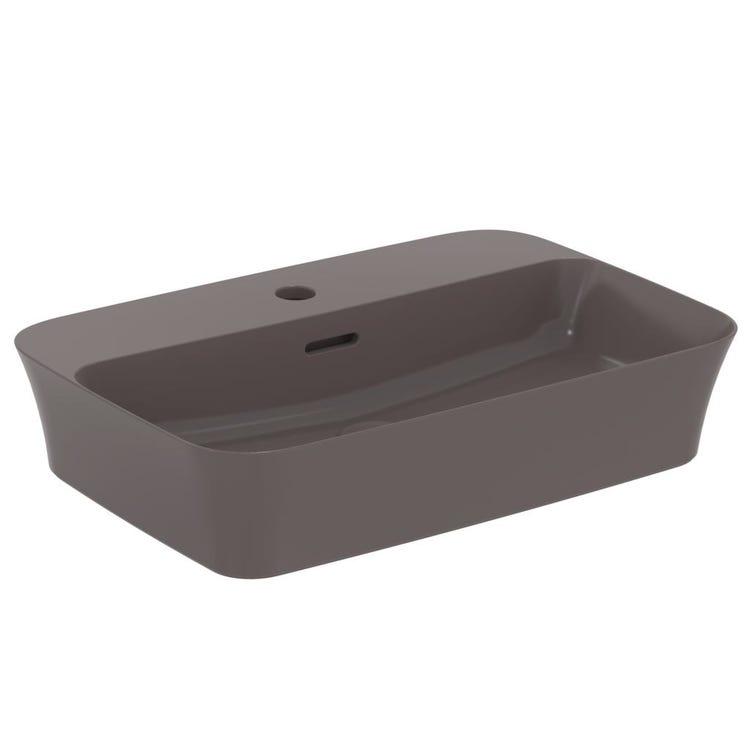 Immagine di Ideal Standard IPALYSS lavabo da appoggio 55 cm monoforo, con troppopieno, colore ardesia finitura opaco E2077V5