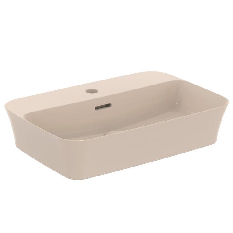 Immagine di Ideal Standard IPALYSS lavabo da appoggio 55 cm monoforo, con troppopieno, colore visone finitura opaco E2077V8