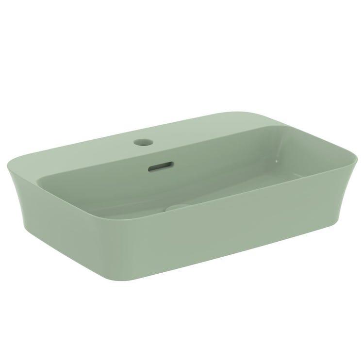 Immagine di Ideal Standard IPALYSS lavabo da appoggio 55 cm monoforo, con troppopieno, colore salvia finitura opaco E2077X9