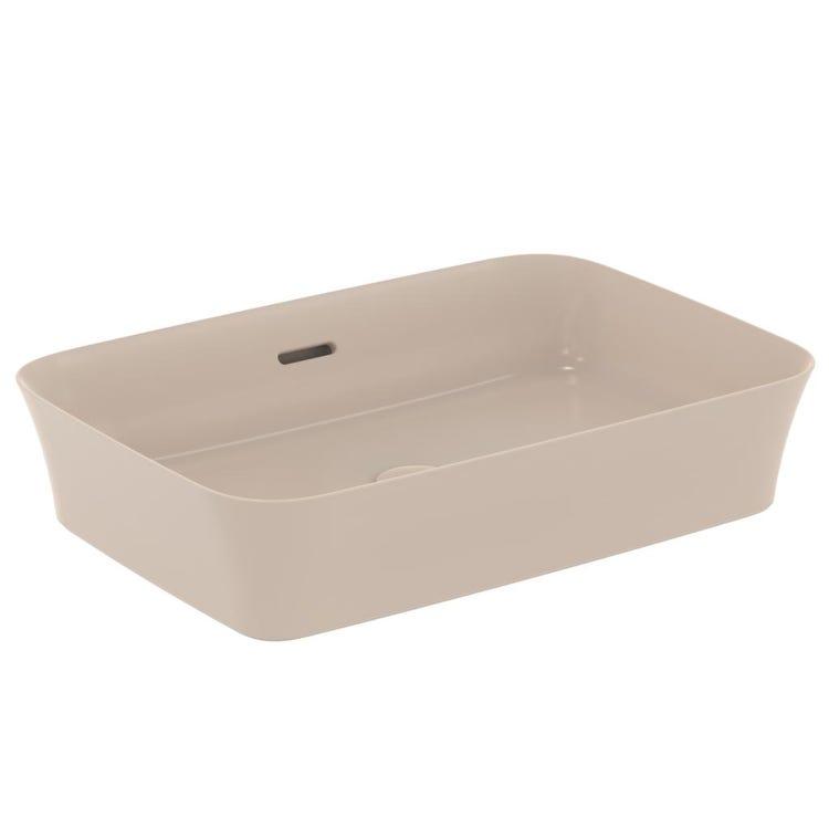 Immagine di Ideal Standard IPALYSS lavabo da appoggio 55 cm, con troppopieno, colore visone finitura opaco E2078V8