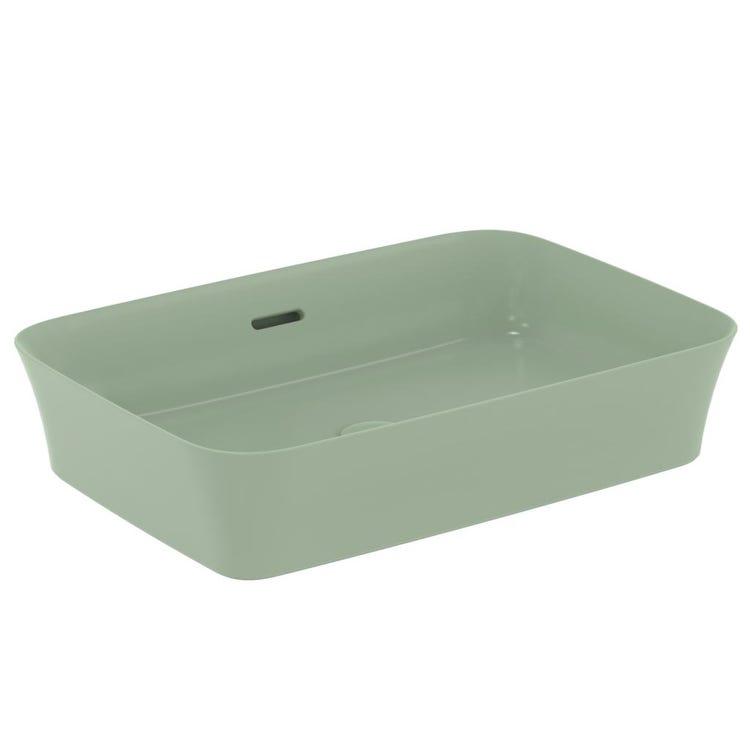 Immagine di Ideal Standard IPALYSS lavabo da appoggio 55 cm, con troppopieno, colore salvia finitura opaco E2078X9