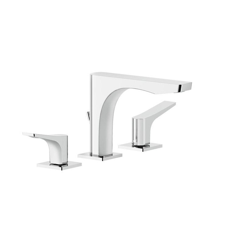 Immagine di Gessi RILIEVO gruppo lavabo 3 fori, con scarico e flessibili di collegamento, finitura cromo 59011#031