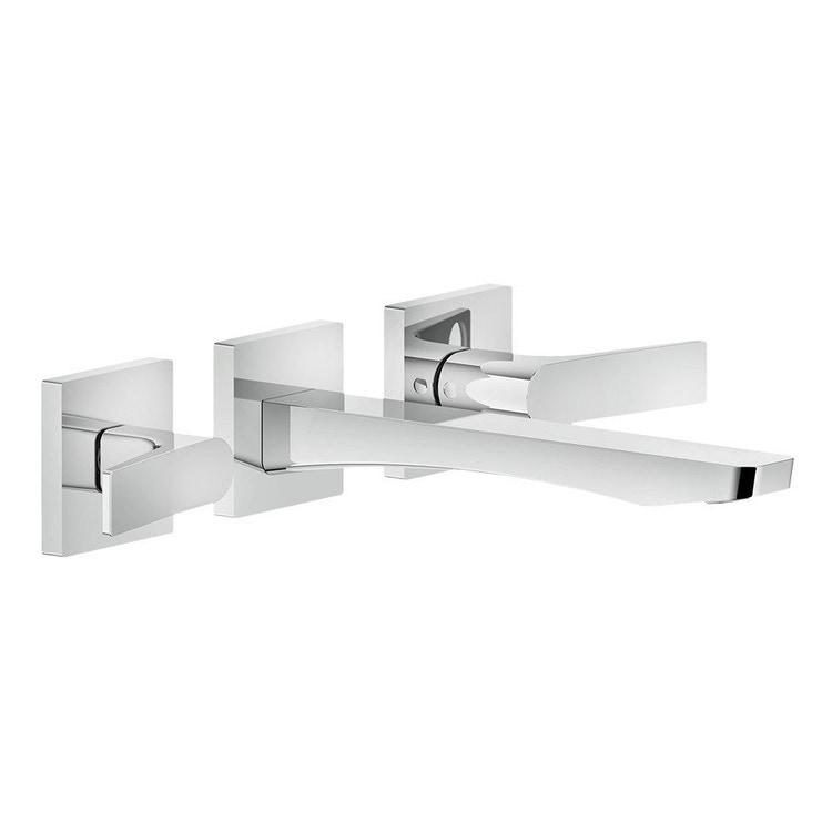 Immagine di Gessi RILIEVO gruppo lavabo a parete 3 fori, bocca media, senza scarico, finitura cromo 59090#031