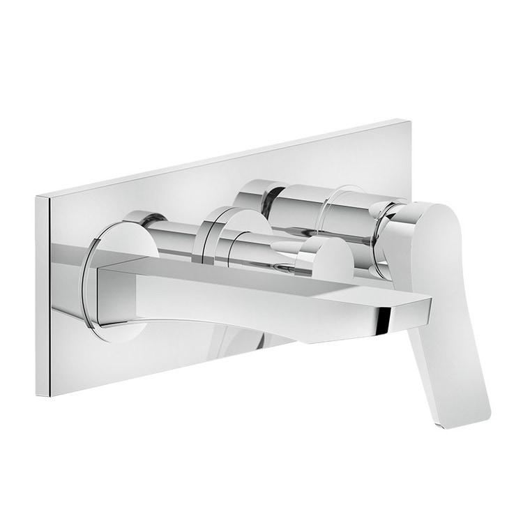 Immagine di Gessi RILIEVO miscelatore vasca a parete P.19 cm, 2 vie, con deviatore, finitura cromo 59138#031