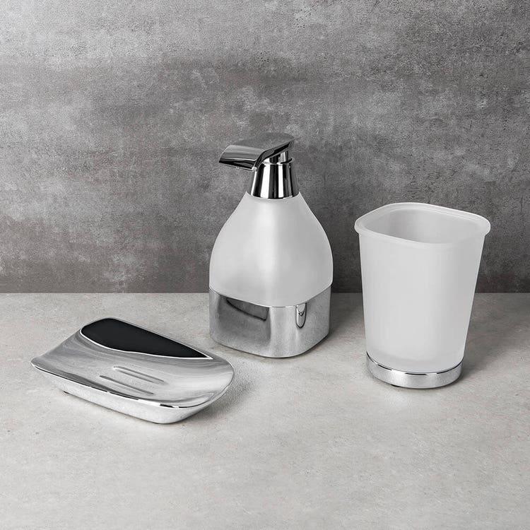 Colombo Design ALIZÈ set da appoggio con porta sapone, dispenser sapone e bicchiere, finitura cromo SETAL001