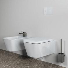 Immagine di Ideal Standard BLEND CUBE set sanitari sospesi, vaso AquaBlade® senza brida e senza sedile, bidet monoforo con troppopieno, colore bianco finitura lucido T368601-T368701-T392701