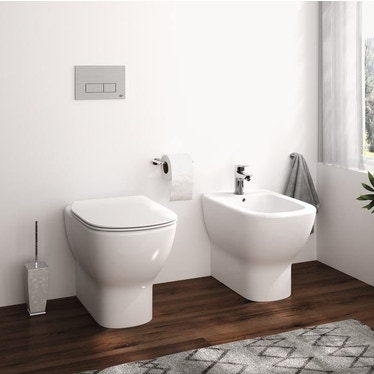 Ideal Standard TESI set sanitari a pavimento, vaso AquaBlade® con sedile slim senza chiusura rallentata, bidet monoforo con troppopieno, colore bianco finitura lucido T354001-T353701