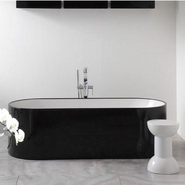 Flaminia OVAL vasca 170 cm in pietraluce, interno colore bianco finitura lucido, esterno colore nero finitura lucido OV170BNB
