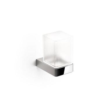 Inda INDISSIMA_CHROME portabicchiere a parete, con contenitore in vetro satinato, finitura cromo A88100CR21