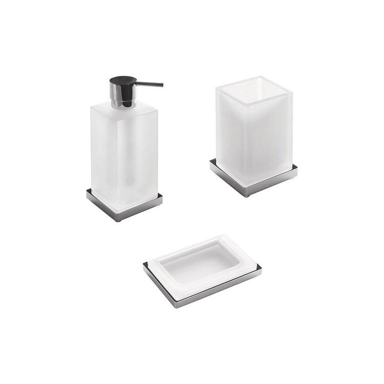 Immagine di Colombo Design LOOK set d'appoggio con portasapone, dispenser sapone e porta bicchiere, finitura cromo SETLO001