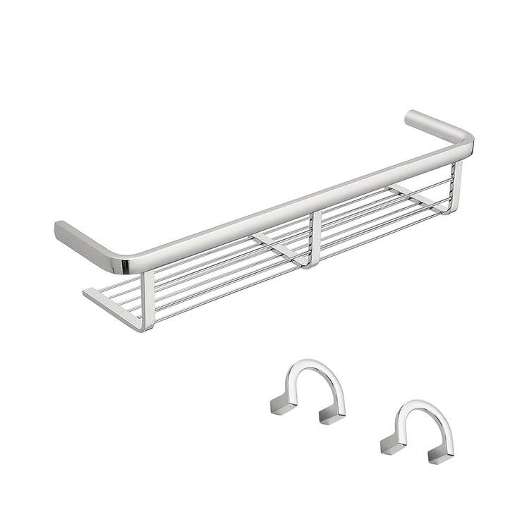 Immagine di Colombo Design LULÙ set a muro con portaoggetti da doccia e vasca e 2 appenditutto, finitura cromo SETLU004