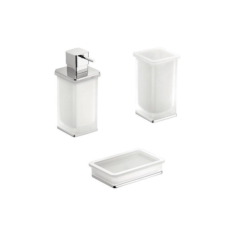 Immagine di Colombo Design LULÙ set da appoggio con dispenser sapone, porta sapone e bicchiere, finitura cromo SETLU005
