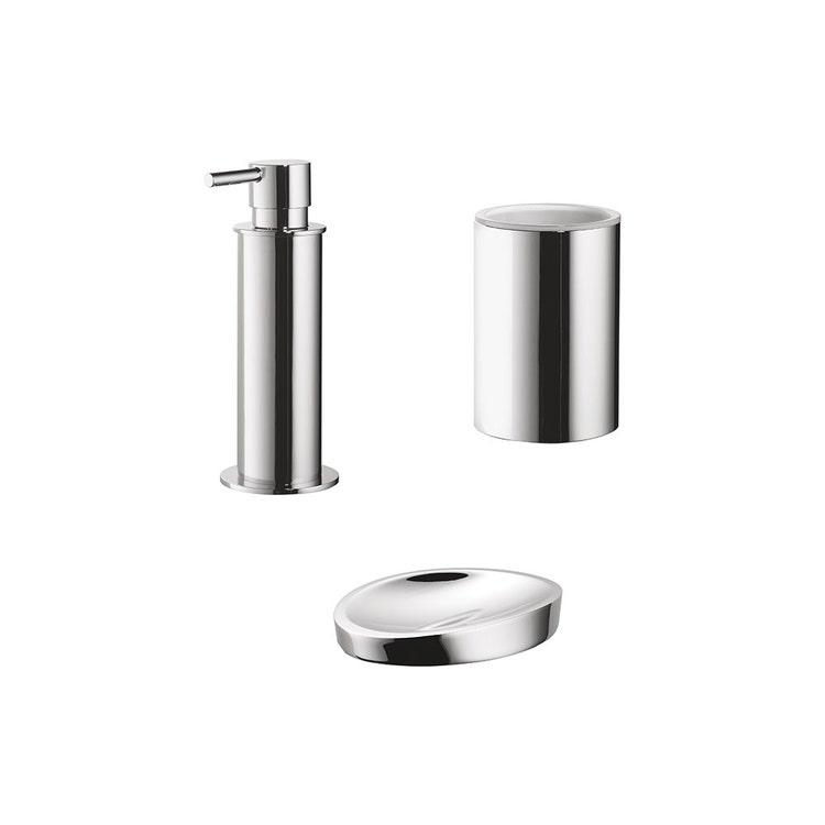 Immagine di Colombo Design PLUS set da appoggio con dispenser sapone, porta sapone e bicchiere, finitura cromo SETPL005