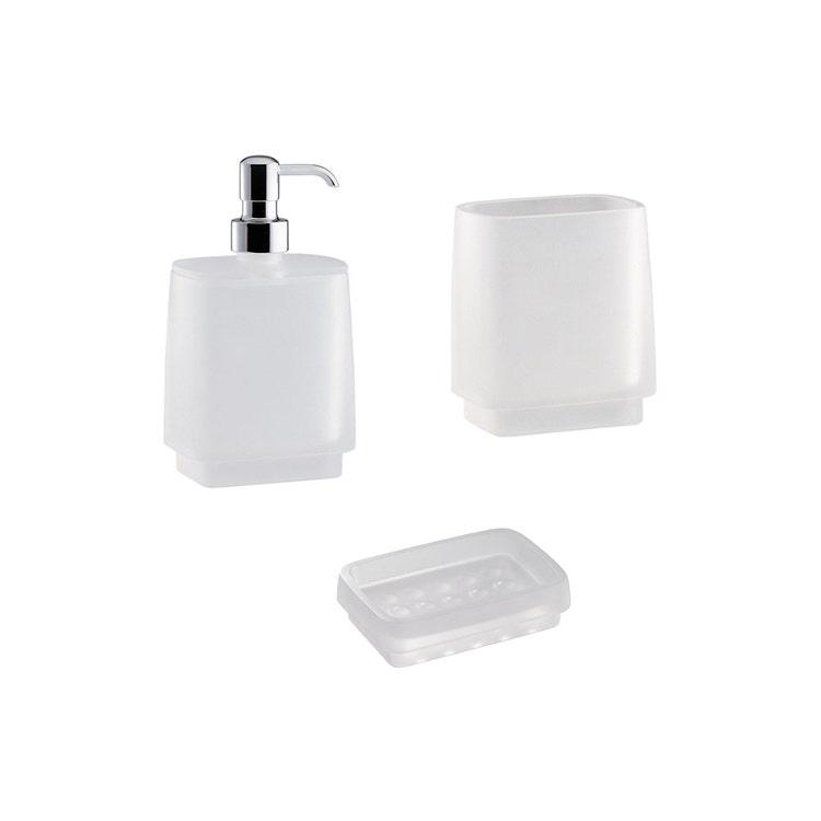 Immagine di Colombo Design TIME set da appoggio con dispenser sapone, porta sapone e bicchiere, finitura cromo SETTI005