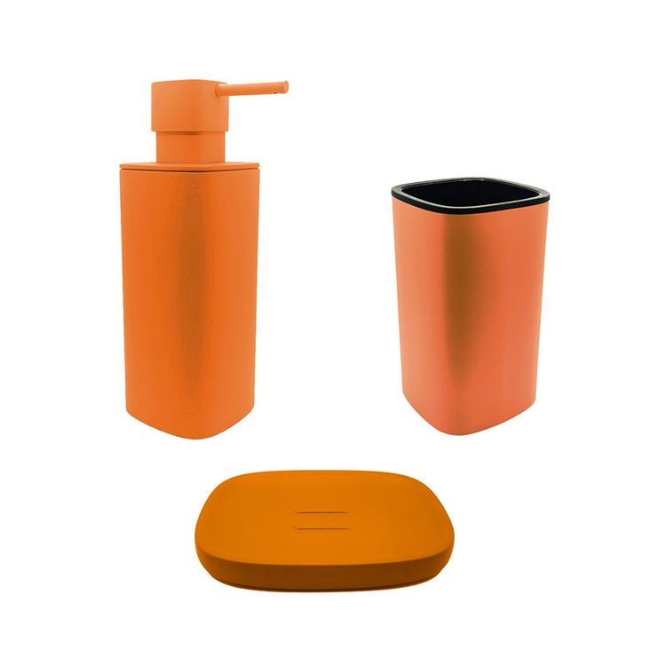 Immagine di Colombo Design TRENTA MOOD set d'appoggio con portasapone, dispenser sapone e porta bicchiere, colore sunset orange SETRM001