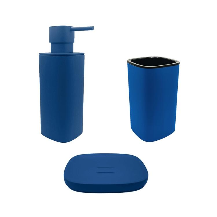 Immagine di Colombo Design TRENTA MOOD set d'appoggio con portasapone, dispenser sapone e porta bicchiere, colore capri blue SETRM002