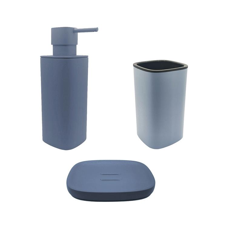 Immagine di Colombo Design TRENTA MOOD set d'appoggio con portasapone, dispenser sapone e porta bicchiere, colore ocean blue SETRM003